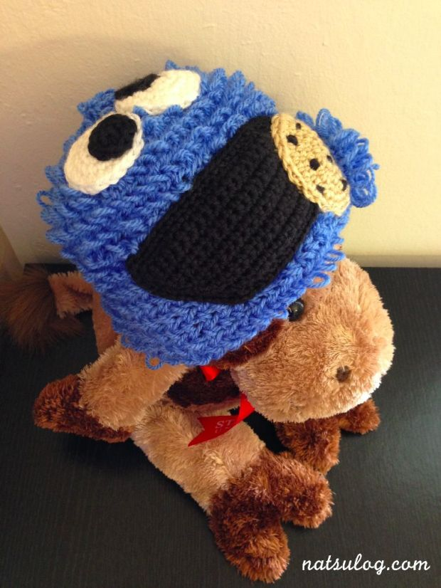 Cookie Monster Beanie on my stuffed cow