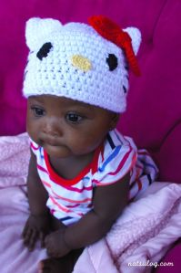 A Little Angel with Hello Kitty Beanie