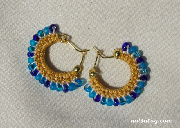 Pure water blue hoop earrings
